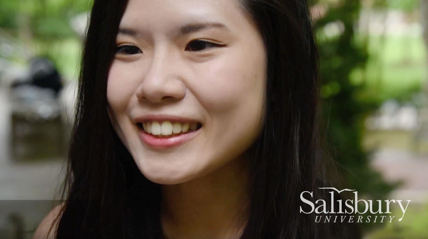 International Student talking to camera