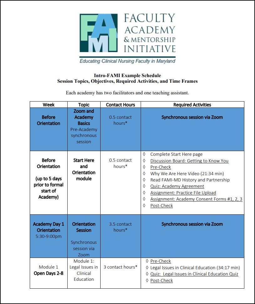 Intro FAMI Sample Schedule