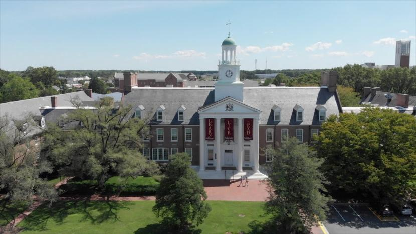 Front aerial shot of Holloway Hall