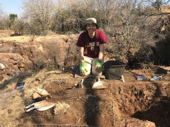 Salisbury University Student during an excavation