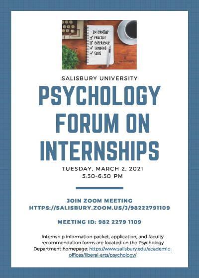 Psychology Forum on Interships flyer