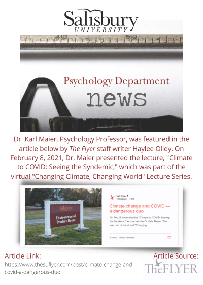 Psychology News Flyer for article featuring Karl Maier