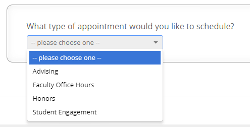 Screenshot of dropdown showing different types of appointments