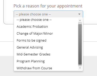 Screenshot of dropdown showing different types of appointment reasons