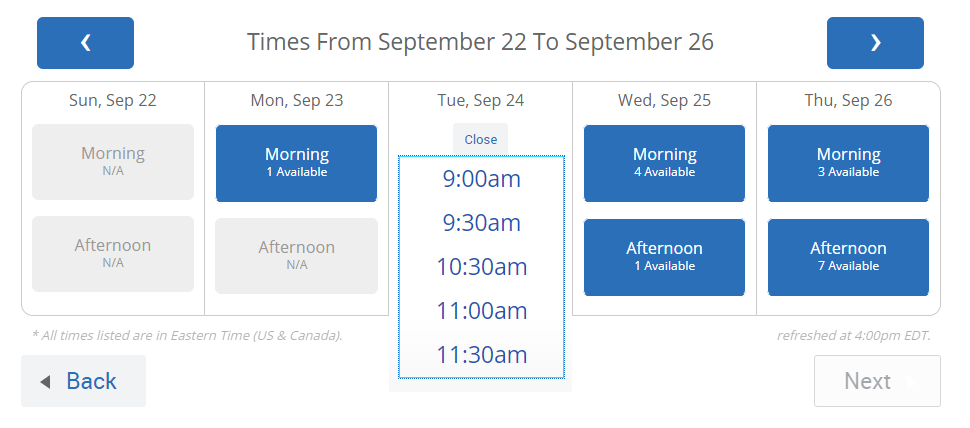 Screenshot of dropdown showing different available times