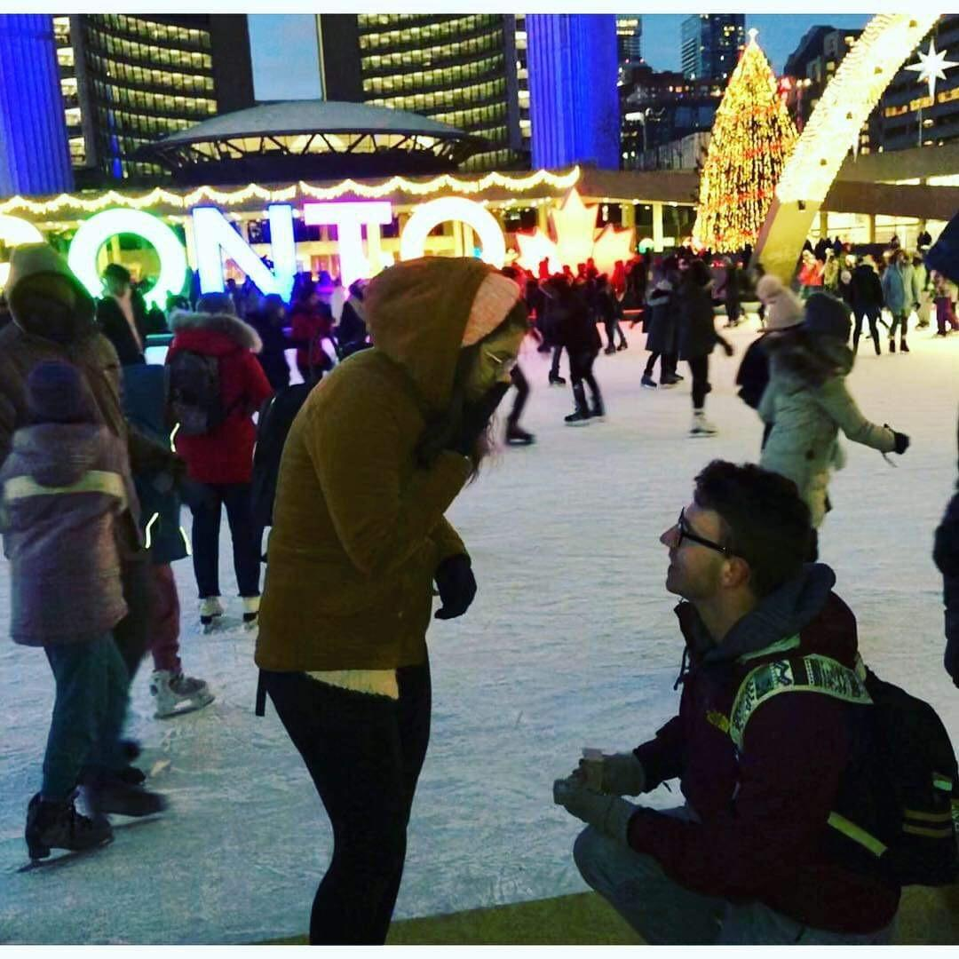 Kaley Booth from Salisbury, Maryland and Cory Thomas, from Keslo, Scottish Borders, Scotland met at Salisbury University in 2017 and were engaged while traveling in Canada.