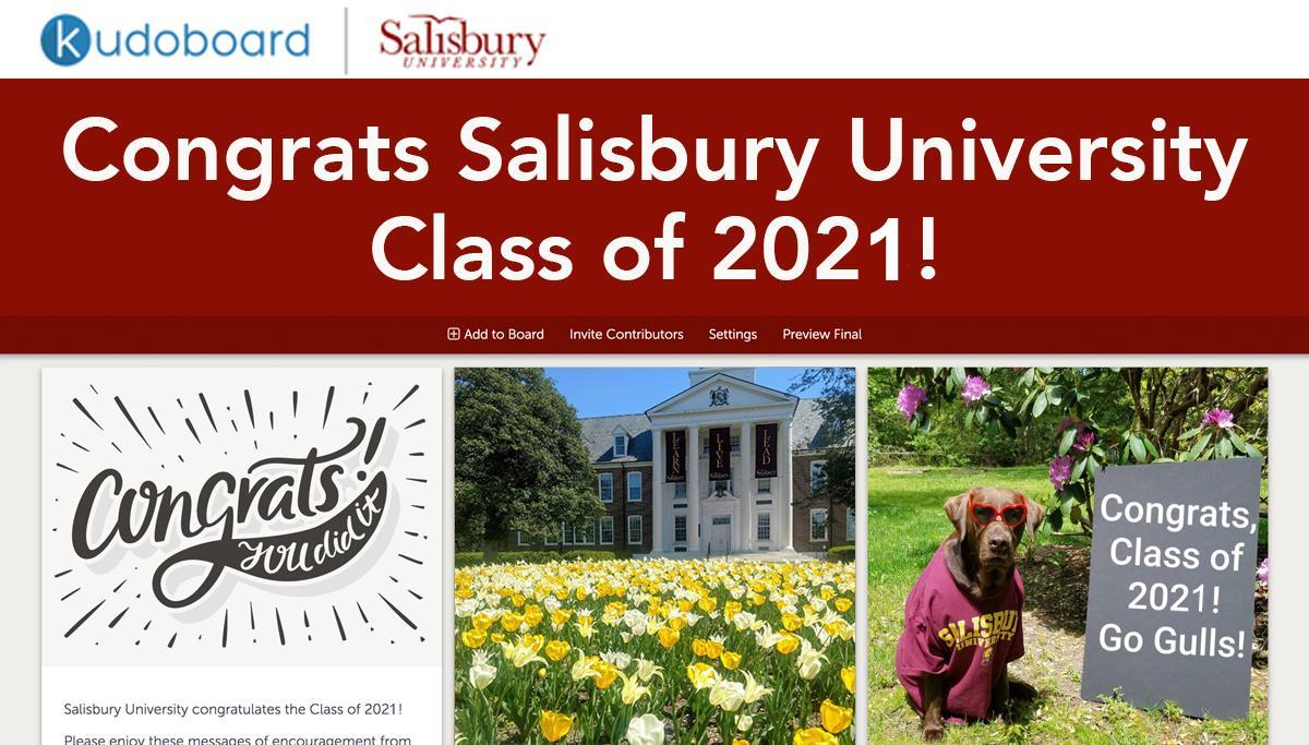 Salisbury University Class of 2021 Kudo Board Screen Shot