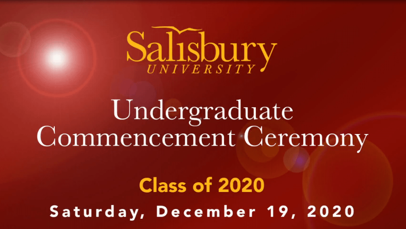 Maroon Background showing Undergraduate Commencement ceremony date and time. Dec 19 2021