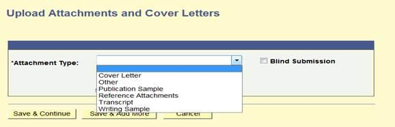 Example of option types for attachment upload inside Online Employment Application