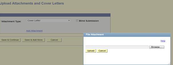 Example of upload screen inside Online Employment Application