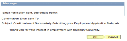 Example of a success thank you page for submitting an application inside Online Employment Application
