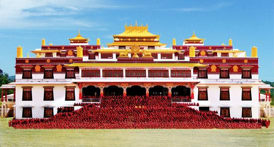 Drepung Loseling Monks in front of the main shrine, India