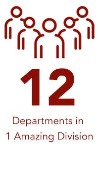 12 Departments in 1 Amazing Division text and icon