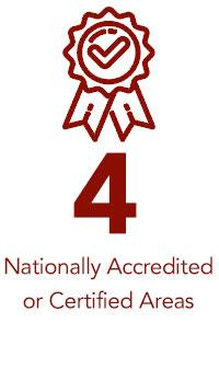 4 Nationally Accredited or Certified Areas text and icon