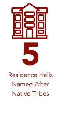 5 Residence Halls  Named After  Native Tribes text and icon