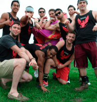 Fraternity pose after a sports game