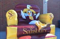 Sammy the Sea Gull sitting on inflatable chair