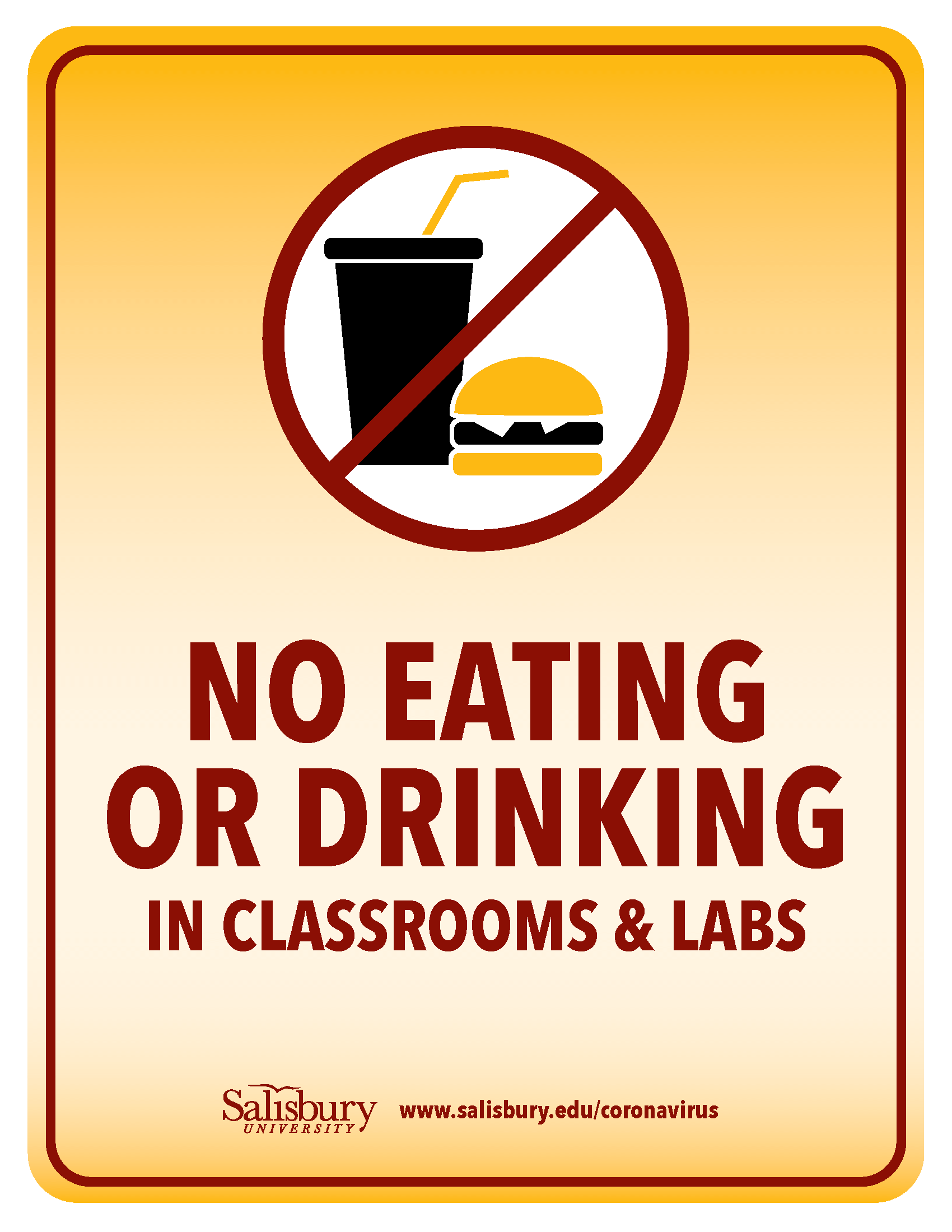 No Food & Drinks in Classrooms & Labs