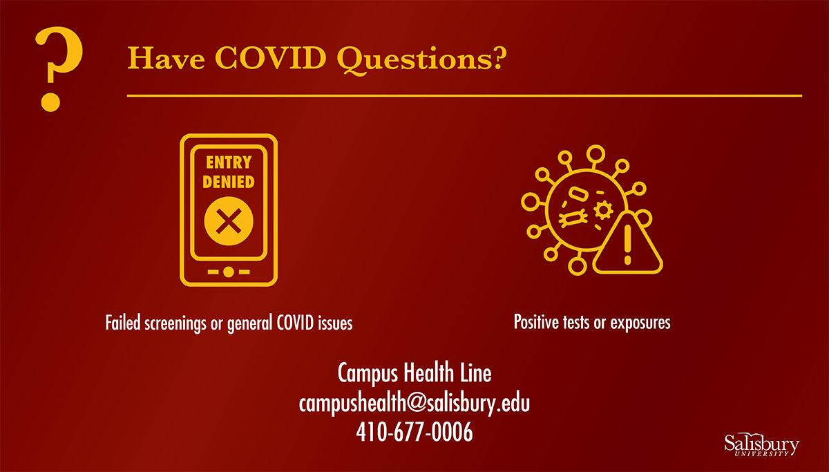 Have COVID Questions: Failed screenings or general COVID Issues; Positive tests or exposures; Campus Health Line campushealth@salisbury.edu 410-677-0006