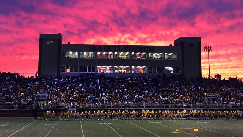 Sea Gull Stadium at sunset