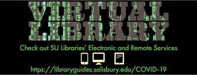 "Virtual Library Banner - ""Virtual Library. Check out SU Libraries' Electronic and Remote Services."