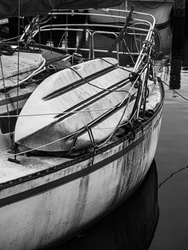 Award winning photograph by Salisbury Student. Shows a boat docked in a marina