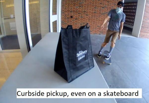 Showing curbside pickup at the Salisbury University Library