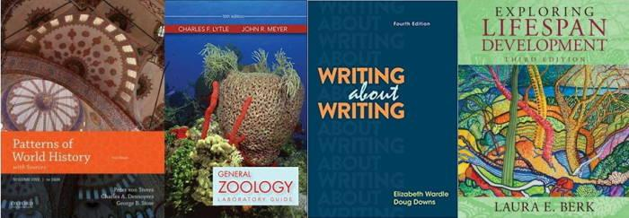 Picture collage of various textbook covers