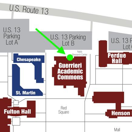 Map of the location of curbside pickup, showing a green dot just outside the front doors of the GAC on the north side of the building (where the parking lot is).