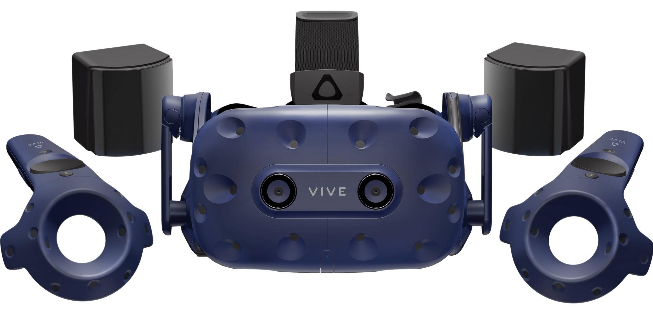 HTC Vive Pro with headset, controllers, and base stations